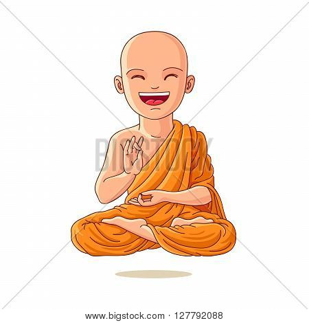 Little Monk. Buddhist in the orange robe. The enlightened disciple. Little boy in the lotus position. Little Yogi. Vector illustration on white background.