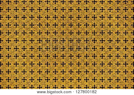 Golden Revetment Wall Putty Macro Texture Background Cross Ornamental Styled
