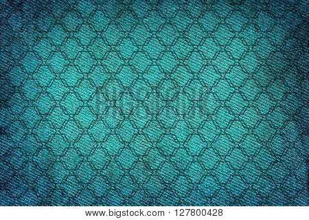 Turquoise Fabric Woven Texture High Contrasted With Vignetting Effect Macro Background Ornamental St