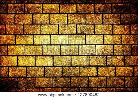 Texture Of Golden Decorative Tiles In Form Of Brick High Contrasted With Vignetting Effect Scratched
