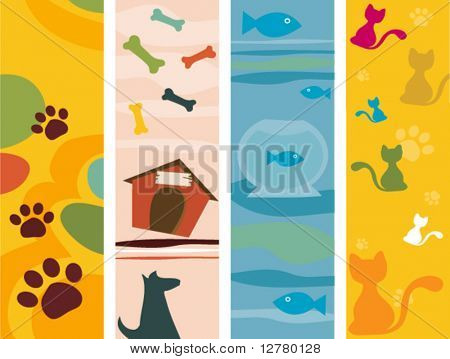 Pet Vertical Banners - Vector