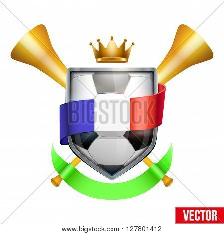 Sport Poster with Football Ball, France flag ribbon and golden vuvuzela. Sporting Matches. Vector isolated on white background.