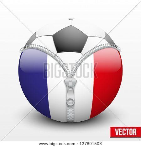 Soccer ball inside France symbol. Vector sport Illustration. Isolated.