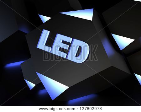 Light-emitting diode (LED) sign - computer generated image (3D render)
