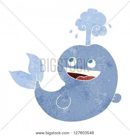freehand retro cartoon whale spouting water