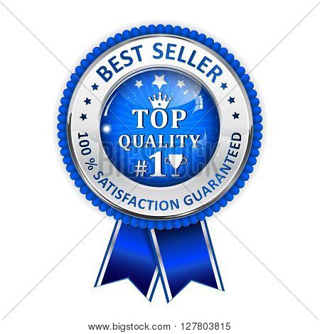 Best Seller. 100 % Satisfaction Guaranteed. Top Quality - metallic blue ribbon. Award for excellence.