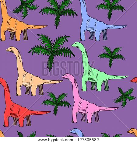 Brontosaurus seamless predator vector illustration. Black and white lines