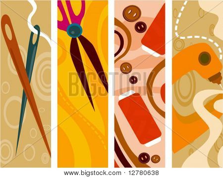 Sewing Vertical Banner - Vector