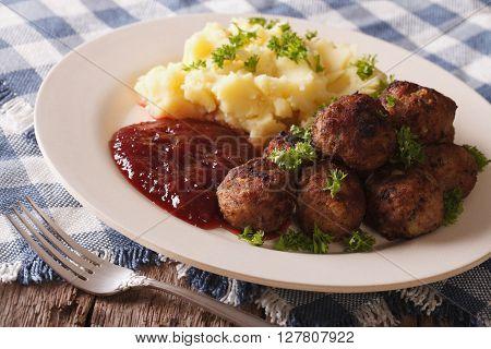 Swedish Food: Meatballs, Lingonberry Sauce With Potato Garnish. Horizontal