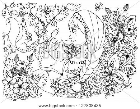 Vector illustration zentangl girl with freckles looking at the squirrel, sleeping face in the flowers. Cartoon, child, forest dwellers. Doodle flowers. Coloring book anti stress for adults. Black and white.