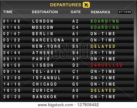 Airport split-flap board with departures flight list
