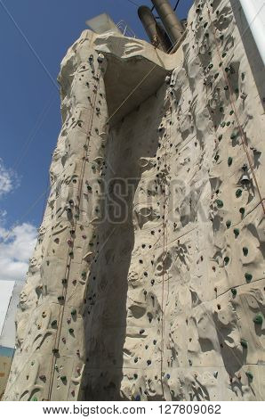 A rock climbing wall on the ship Freedom of the Seas challenges cruisers for an afternoon of adventure
