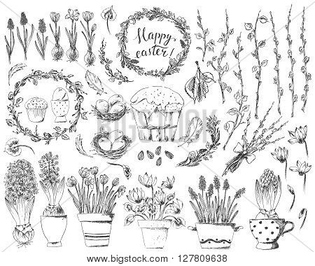 Hand drawn easter deasign elements set. Easter wreath easter willow bouquet potted hyacinths cyclamen crocus bird nest easter eggs easter cake bird feathers spring tree branches. Happy easter hand lettering.