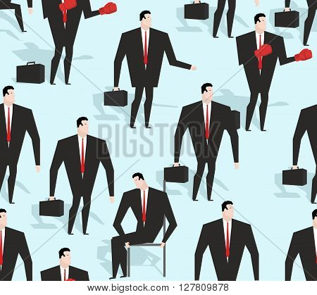 Manager Seamless Pattern. Business Varied In Different Situations Texture. Ornament Of Men In Costum
