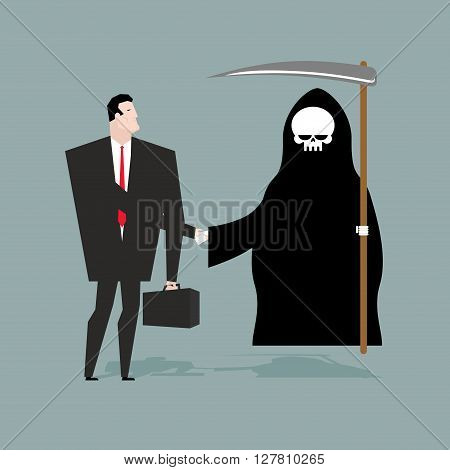 Deal with death. Businessman and Grim Reaper make transaction. Skeleton in hood and man shake hands. Handshake in purgatory. Agreement between death and manager. White skull and scythe poster