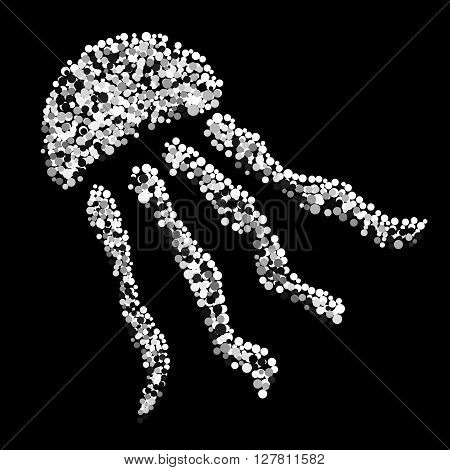 Black and white image of jellyfish. Cute jellyfish made with grey dots and drops.