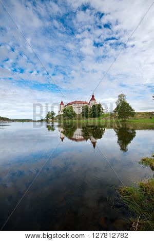 White walls of Lacko castle in Sweden