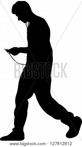 a man body black color silhouette vector