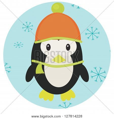 Penguin icon app mobile. Penguin isolated and baby penguin emperor penguin and penguin vector. Vector flat design illustration