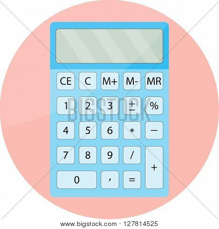 Calculator icon isolated. Mathematical display calculator financial functions and calculator gadget computer. Vector flat design illustration