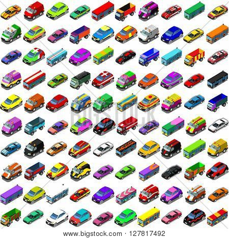 Car game icons. Flat 3d isometric city transport isolated car. Car van cargo truck off road bus. Transport set. Urban public and freight transport infographic