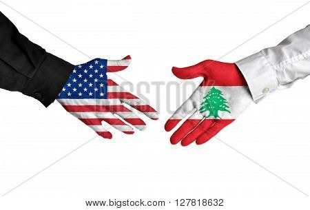 United States and Lebanon leaders shaking hands on a deal agreement