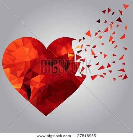 Stylized image of broken polygonal heart. Sadness concept.