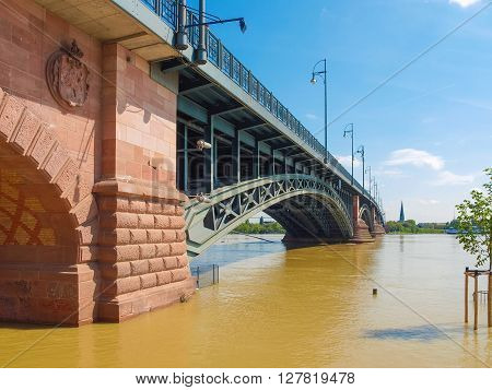 MAINZ GERMANY - JUNE 6: River Rhine Flood on June 6 2013 in Mainz Germany