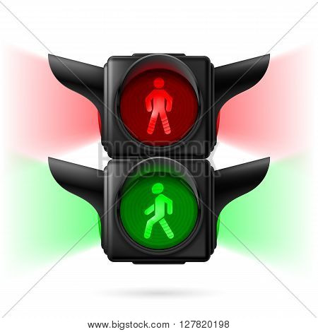 Realistic pedestrian traffic lights with red and green lamps on and sidelight. Illustration on white background