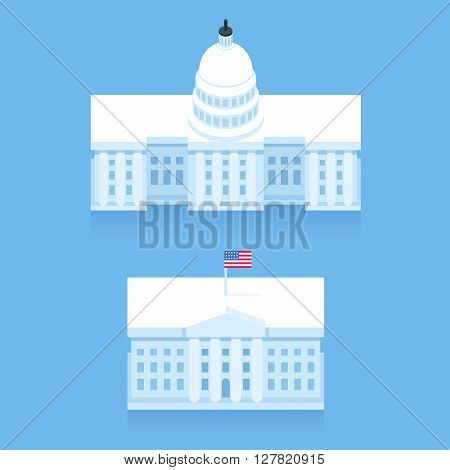White House and Capitol building in stylized flat cartoon style. Washington DC landmarks.