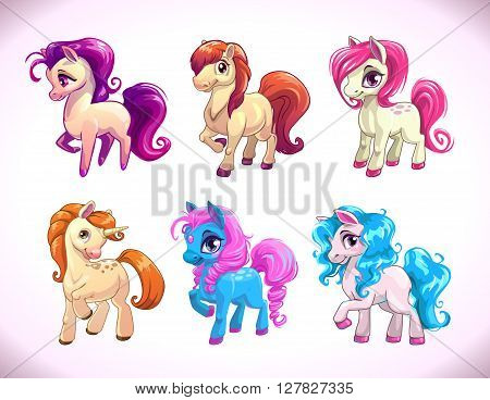 Funny cartoon farm pony characters, girlish beautiful baby horses icons set, vector illustration isolated on white, cute prints for kids t shirt design