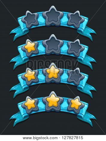 Cool cartoon game XP rating icons, level complete vector templates, stars rank on blue ribbon, assets for game design, GUI elements