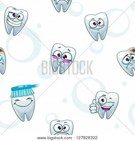 Light vector dental texture with funny cartoon teeth characters on white, stomatology background, seamless pattern on medical subjects