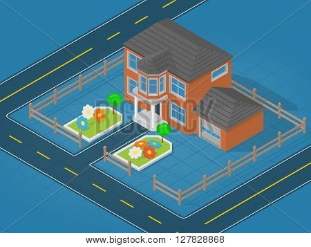 Isometric scene representing modern house and adjoining area with flower bed - vector illustration