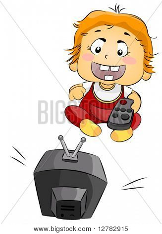 Toddler watching TV - Vector