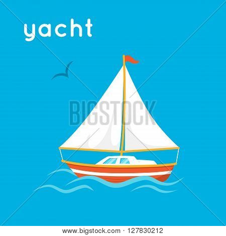 Cartoon simple illustration. Vector boat and word Yacht