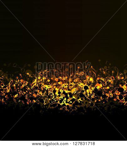 Vector abstract colored notes on a dark background, golden musical background