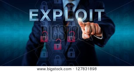 Network administrator touching EXPLOIT on an interactive screen. Business metaphor and information technology concept for software or commands taking advantage of program flaws and security holes.