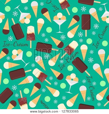 Seamless pattern with ice creams isolated on green background with snowflakes. Waffle cones, ice cream on a stick. Delicious refreshing sweets. Can be used for wallpaper design. illustration