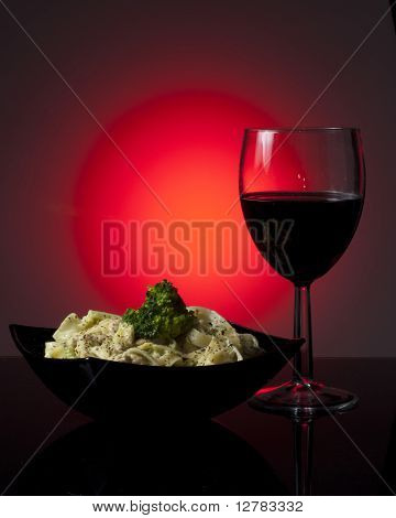 Pasta and a glass of wine