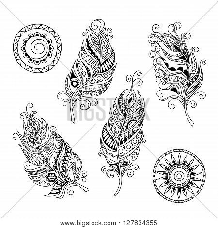 Set of hand drawn mandalas and feathers isolated on white. Boho style. Image for adult and children coloring book pages tattoo decorate dishes cups porcelains shirts dresses bags tunics. EPS 8.