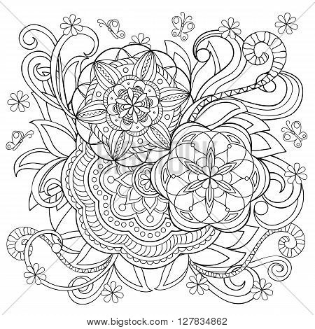Hand drawn monochrome print with doodle flowers and mandalas isolated on the white. Boho style. Image for adult and children coloring books pages tattoo decorate dishes cups porcelain ceramics shirts dresses bags tunics. eps 10
