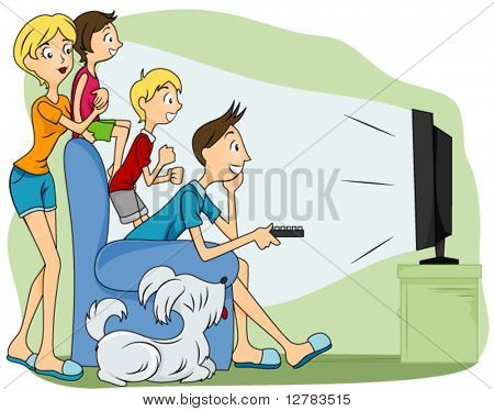 Family Watching TV - Vector