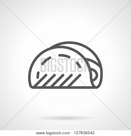 Fast food snake and appetizers. Mexican menu. Tacos in assortment. Simple black line vector icon. Single element for web design, mobile app.