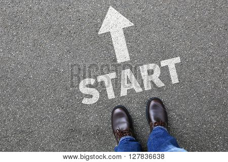 Start Starting Begin Beginning Businessman Business Man Concept Career Goals Motivation