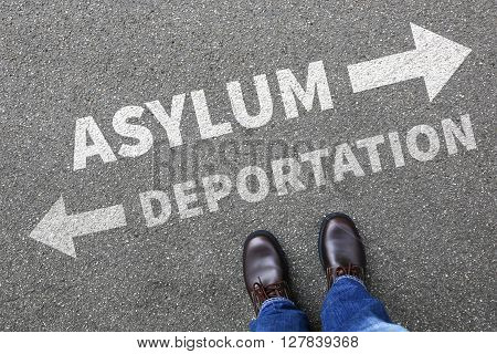 Asylum deportation removal refugees refugee sanctuary immigrants illegal immigration concept