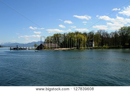 Herreninsel Lake Chiemsee Bavaria with chapel