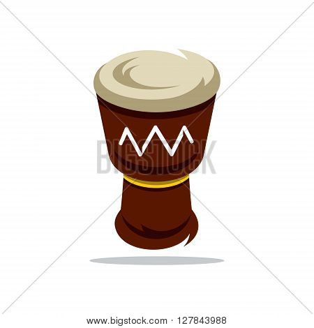Colorful Djembe Isolated on a White Background