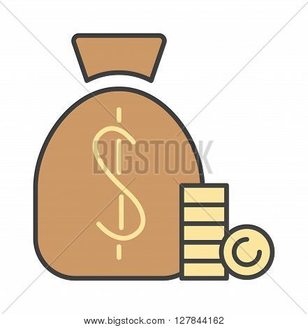 Money bag sign flat icon money finance sign. Banking money bag sign investment financial wealth money treasure economy coin. Money bag sign icon currency business symbol flat design vector.