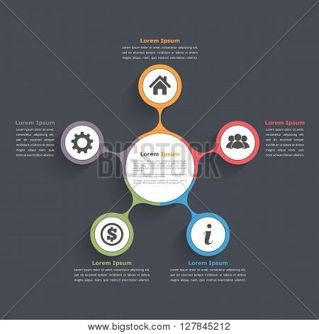 Circle diagram infographics with five elements with icons and text, circle flow chart template, business infographics, vector eps10 illustration